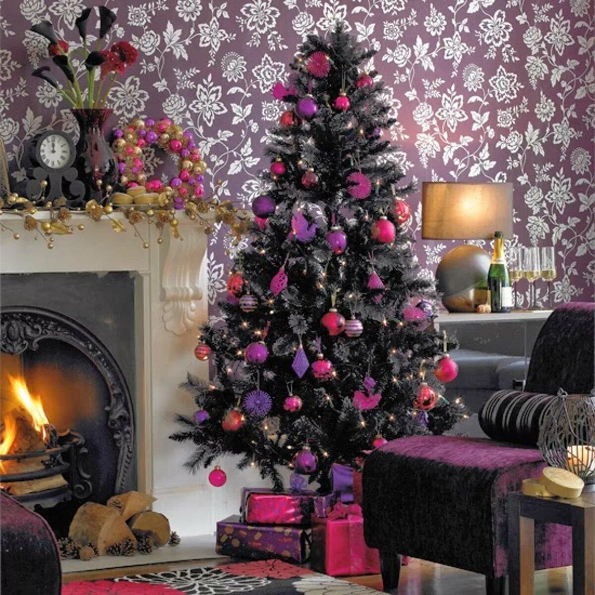 Смешного, картинки елок на новый год украшенные в фиолетовом цвете