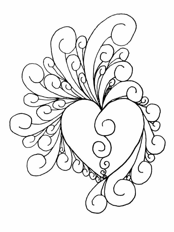 Красивые картинки для девочек раскраски сердечки цветочки, сделать рисованную