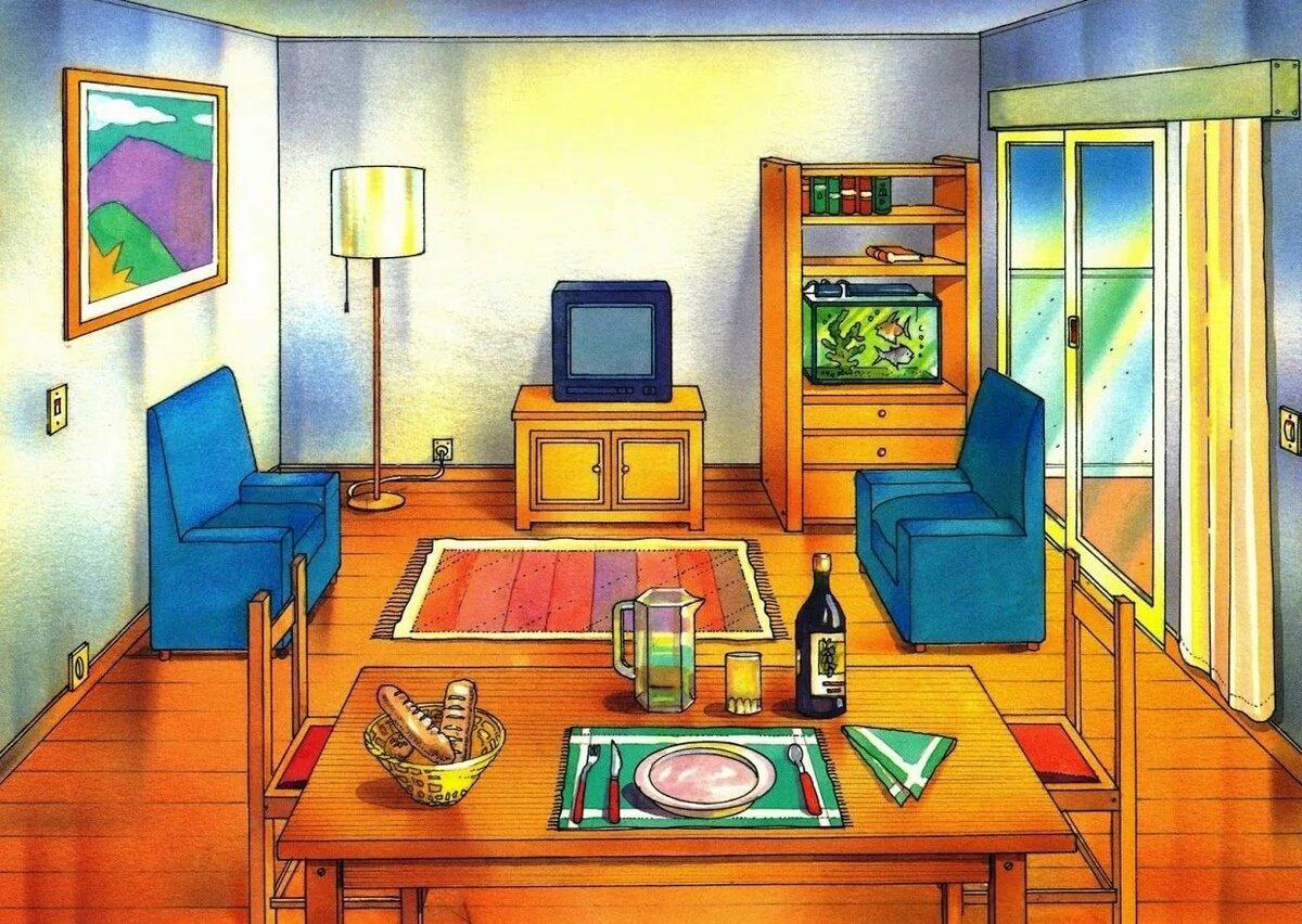 Гостиная картинка для детей нарисованные