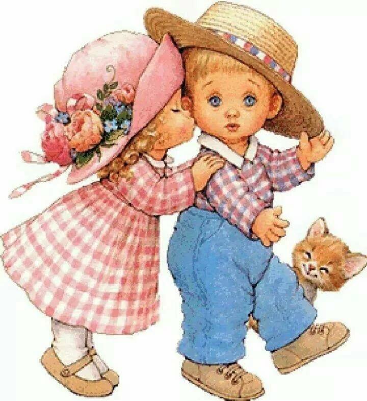 На открытке мальчик и девочка, днем
