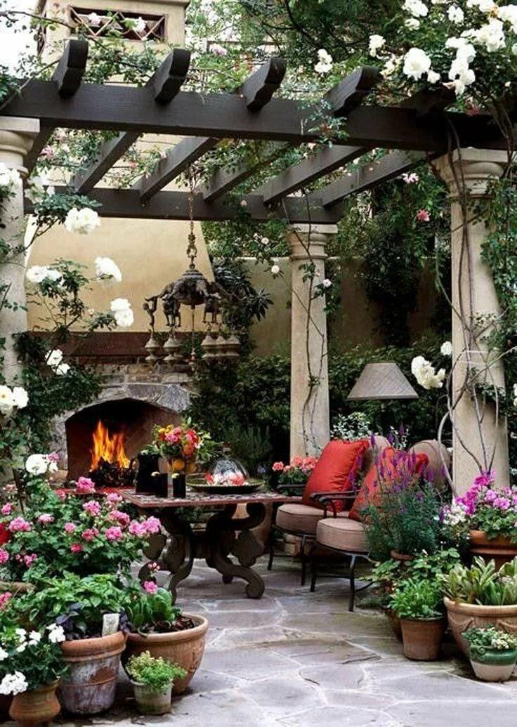 Патио в саду в картинках