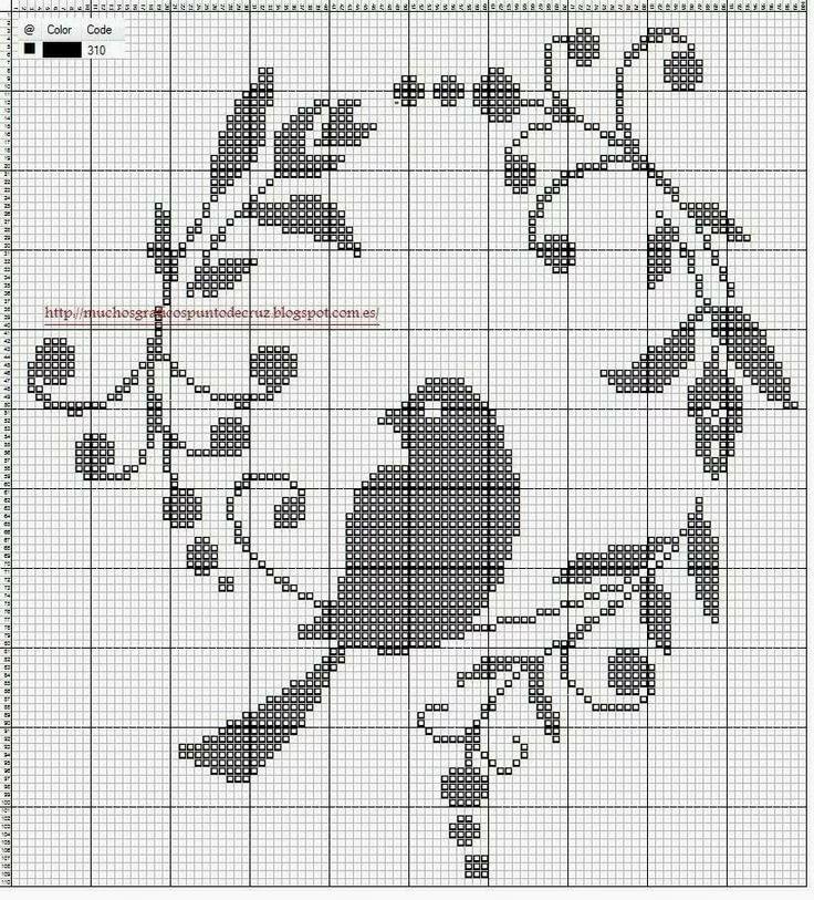 Схема монохромной вышивки