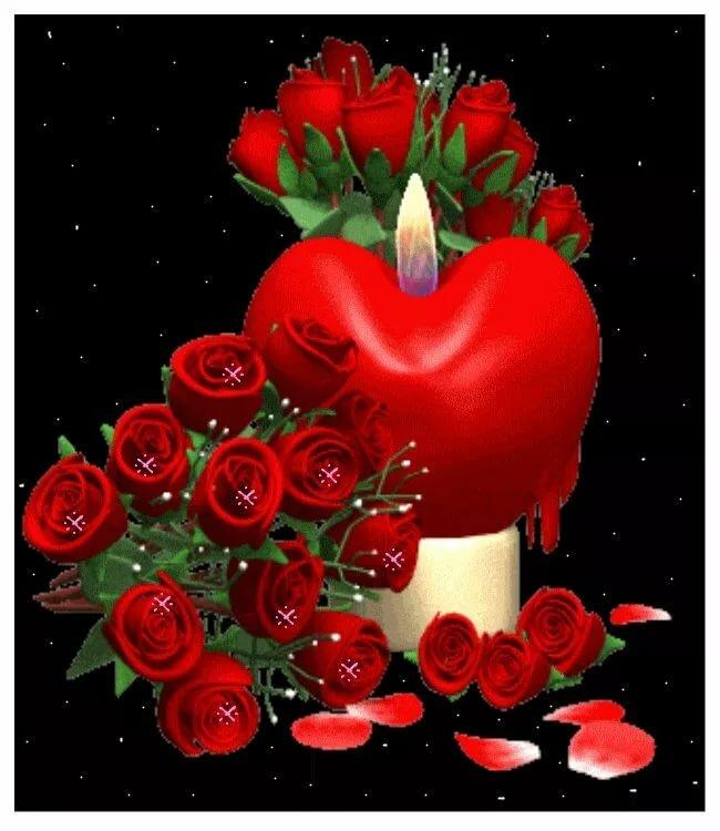 Цветы и сердце анимация