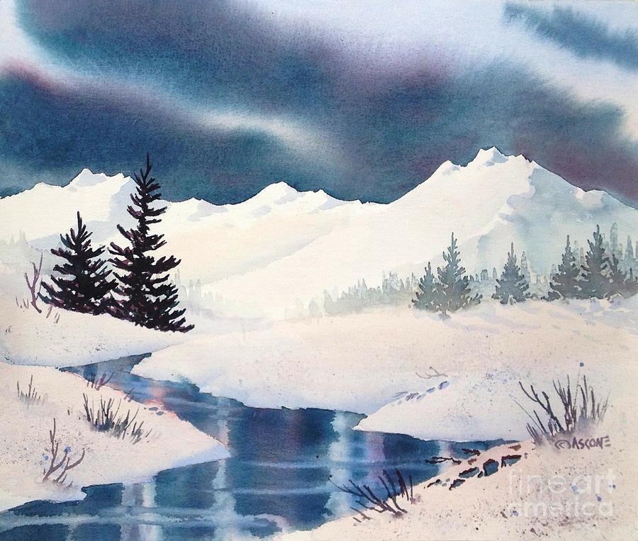 Природа зимой рисунок акварелью