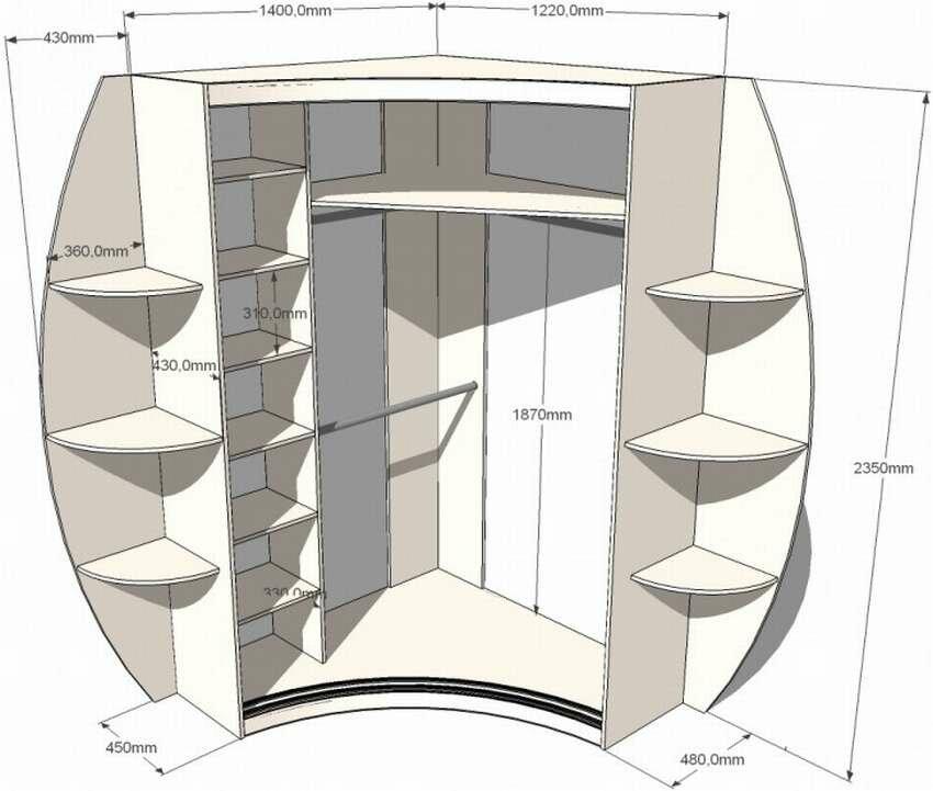 Размеры углового шкафа в картинках