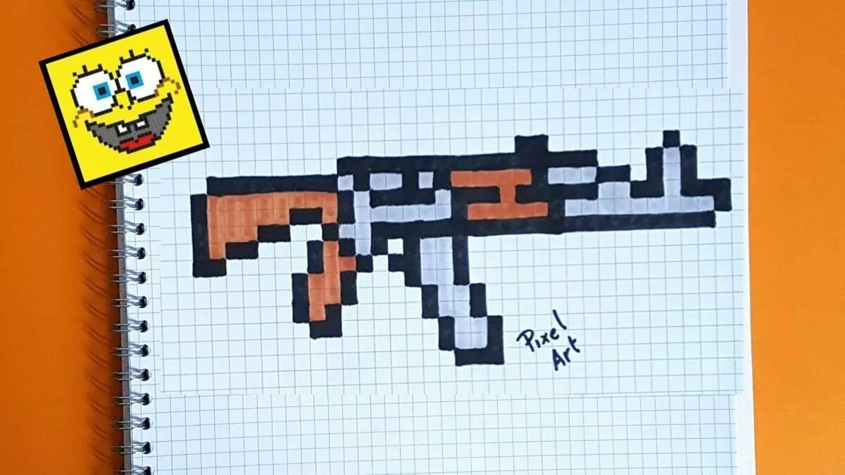 Пистолет по клеточкам картинки
