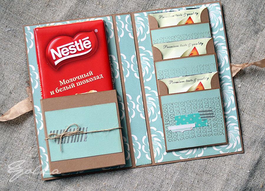Открытка с кармашком для шоколадки, комиксов