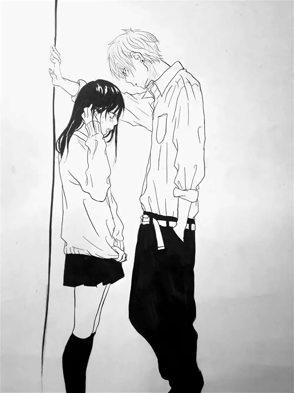 Картинки аниме парень прижал девушку к стене