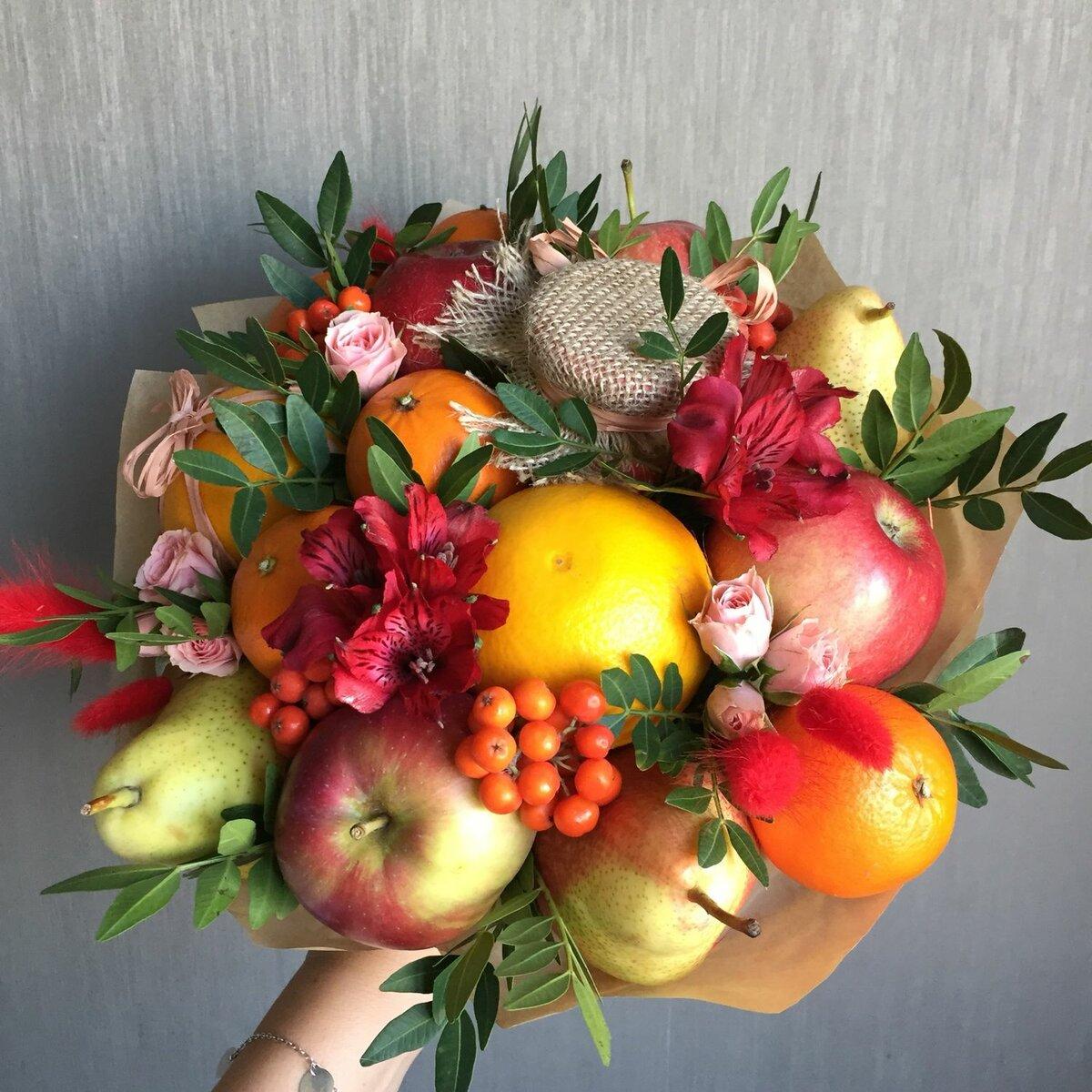 Букеты цветов с фруктами фото, магазин живых цветов
