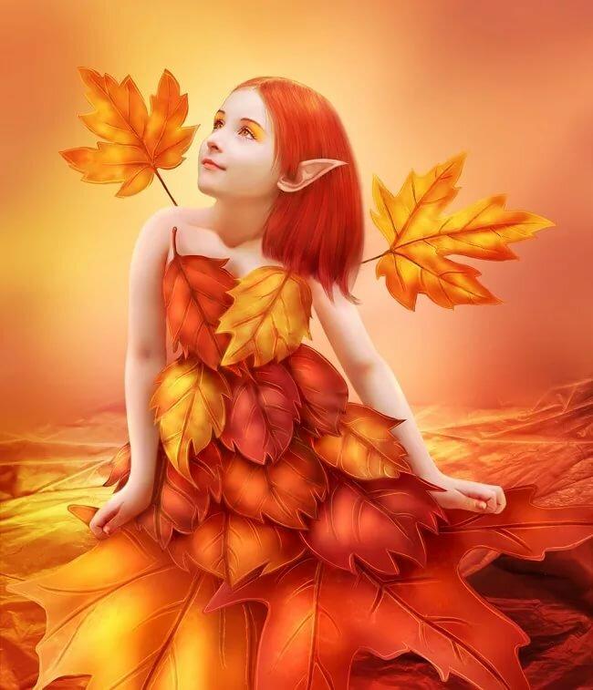 картинка фея в осеннем лесу