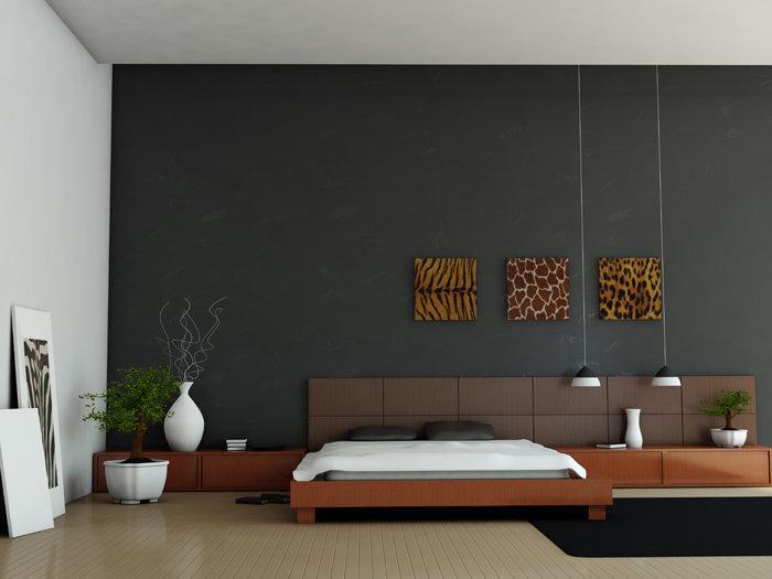 Дизайн интерьера спальни в стиле минимализм / 39 фото Фото - большая серая спальня 9 м.