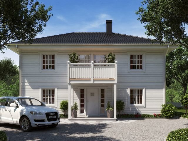 """Балкон над крыльцом двухэтажного домика в стиле прованс. """" -."""
