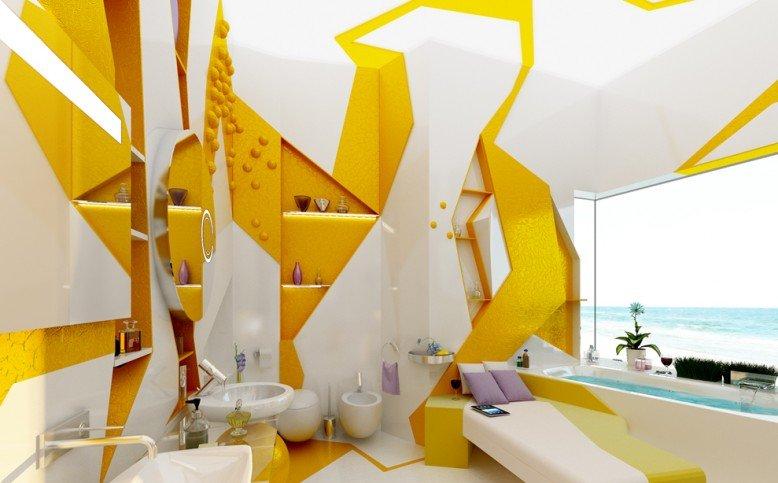 Ярко-жёлтый дизайн в виде оазиса.