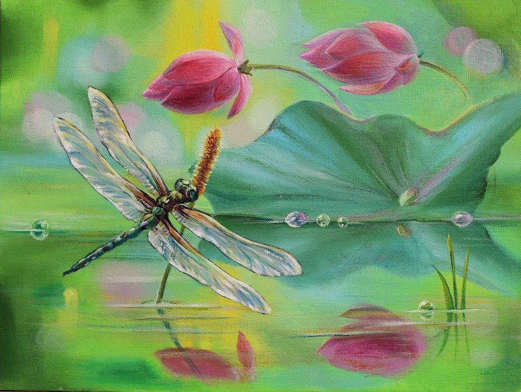 Картинки со стрекозами и цветами