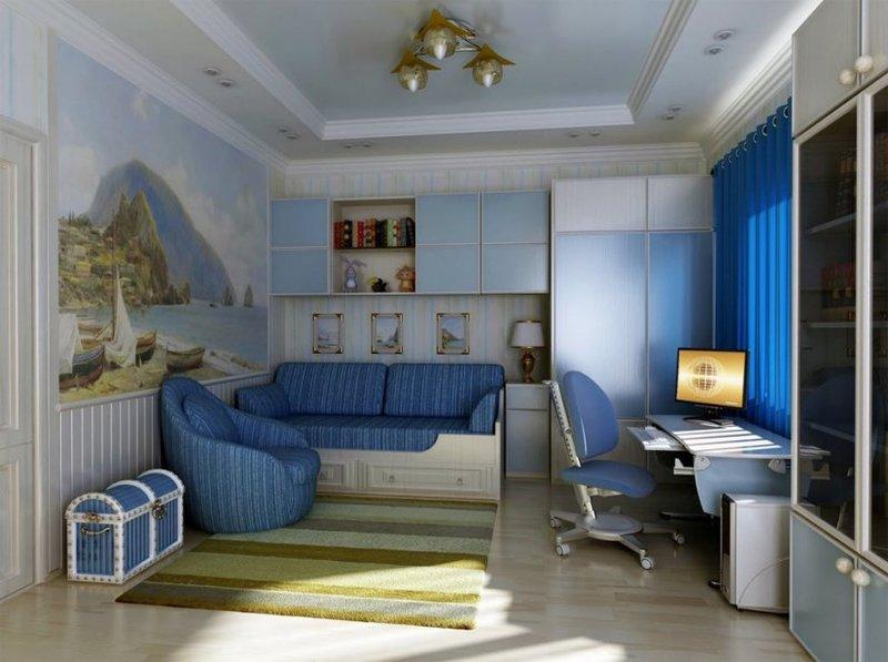 Дизайн функциональной детской комнаты для мальчика.