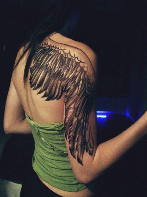 фото тату на спине крылья ангела пол