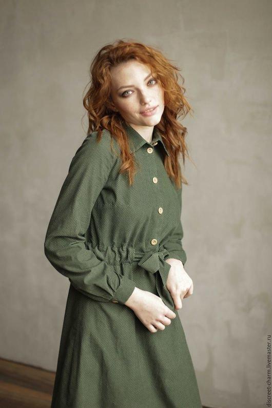 ee9559d5d29 ... Купить или заказать Зелёное платье-рубашка в горох