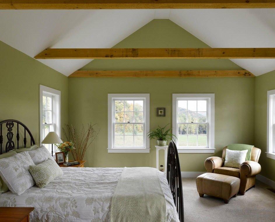 зеленая спальня на мансарде дизайн фото поражений вен