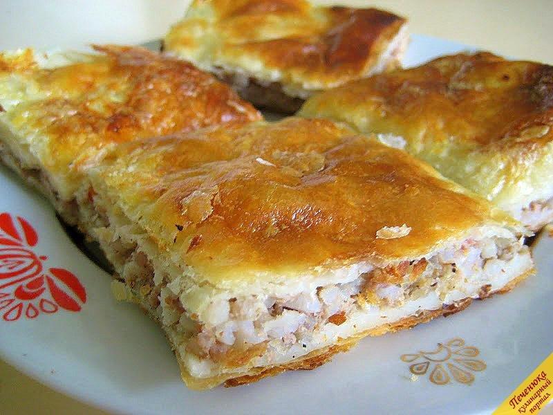 слоеный мясной пирог рецепт с фото