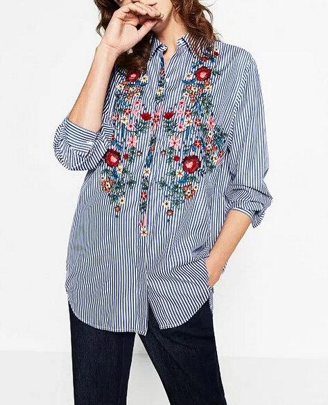Стильная вышивка на рубашке