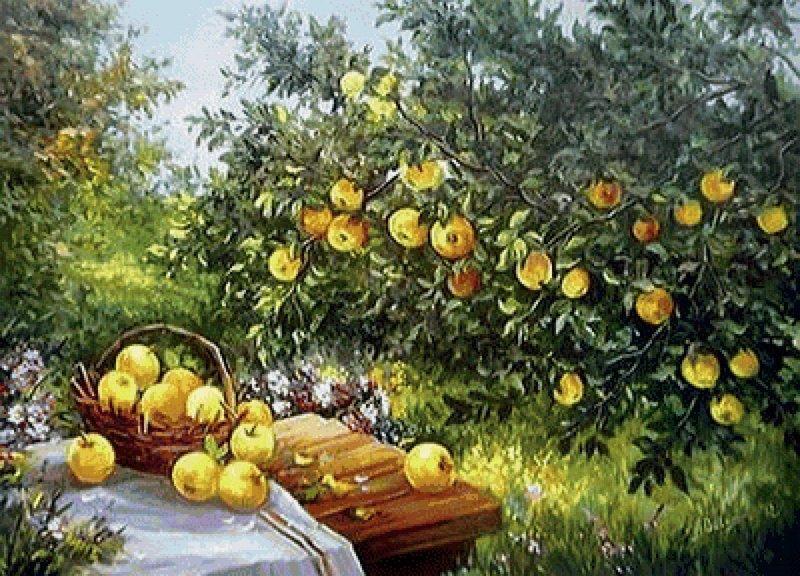 В яблоневом саду вышивка крестом