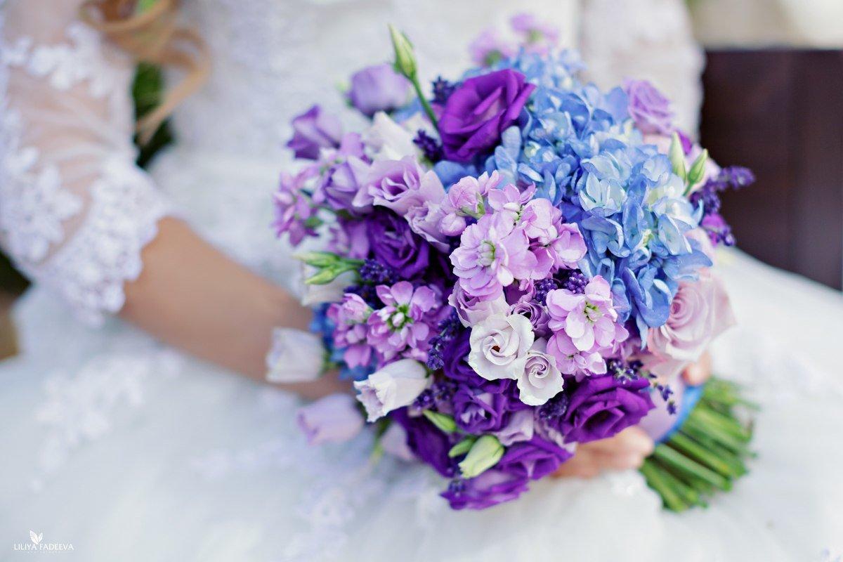 Фимо, свадебный фиолетовый букетик