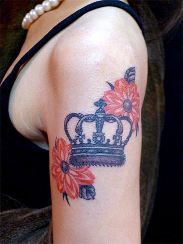 Крылья цветы и корона тату фото