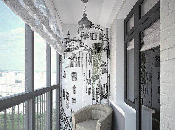 """Дизайн лоджии с черно-белой росписью на стене"""" - карточка по."""