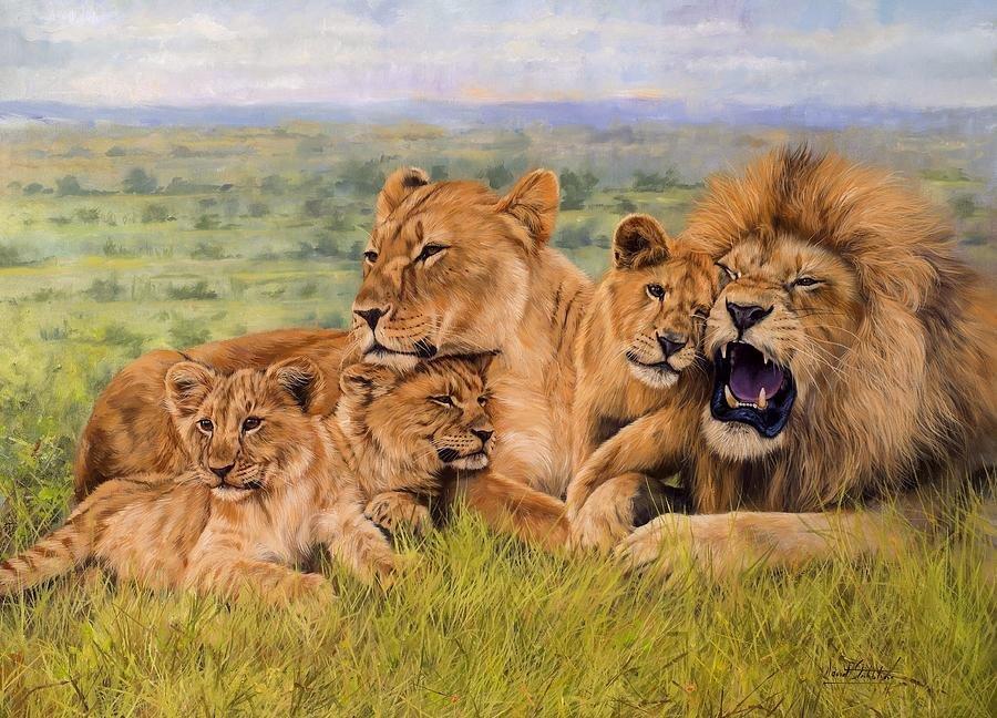 Картинка львов семья