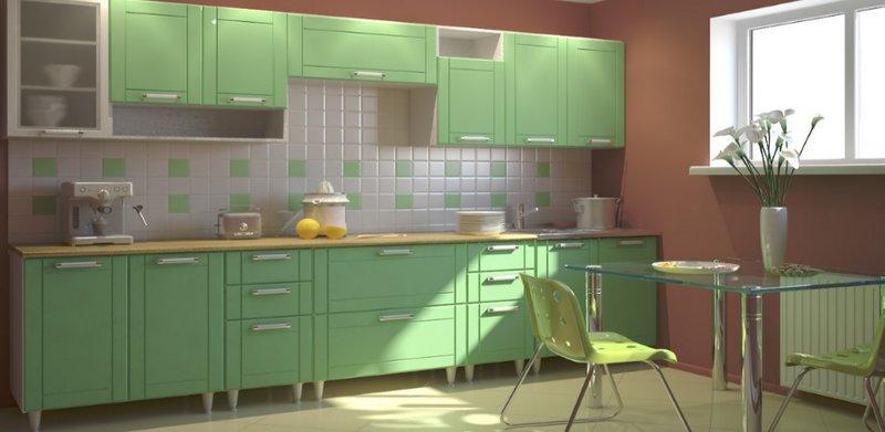 Сочетания цветов мятной кухни,стильно