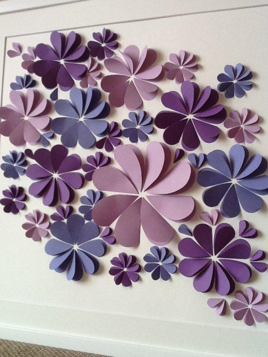 Панно из бумажных цветов на стены фото