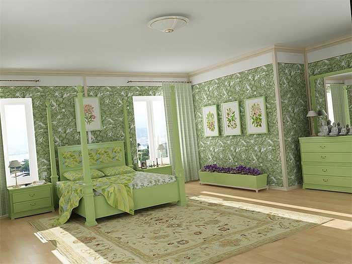 зеленого цвета мебель в классической спальне с зелеными обоями и текстилем