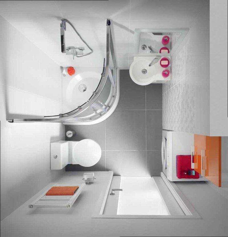 Очень строгий стиль и функциональность в оформлении маленького пространства ванной комнаты.