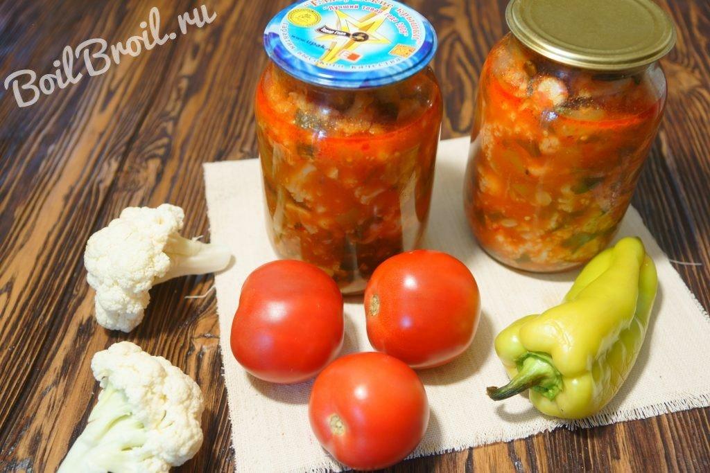 рецепты салатов из цветной капусты на зиму в банкинг