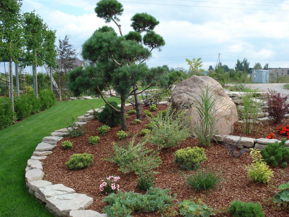 Классическое сочетание природных камней и бурой мульчи