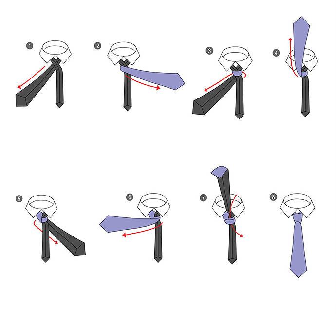 схема завязки галстука фото даже нет
