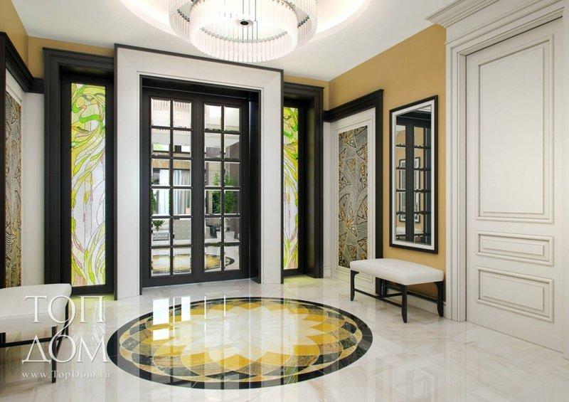 Дизайн интерьера загородных домов и коттеджей > 1100 фото дизайн ... Интерьер прихожей в доме с витражами и мраморным полом