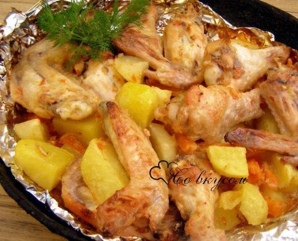 Что можно приготовить из курицы картошки лука