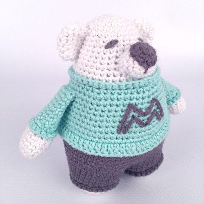 Подробная схема вязаной крючком игрушки амигуруми - медвежонка по имени Malcolm.