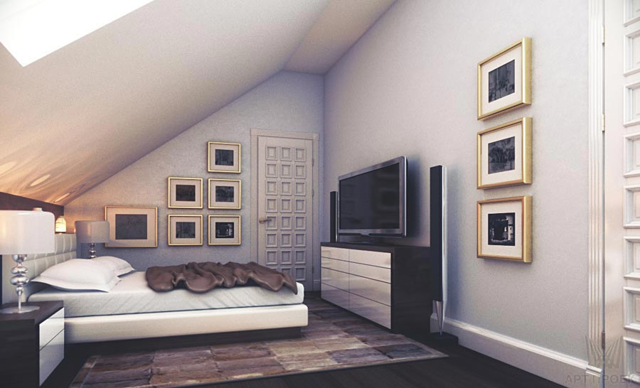 интерьер мансардной комнаты фото