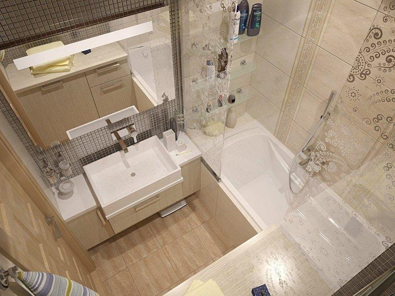 Маленькая ванная комната с оригинальной отделкой и декором в светлых тонах