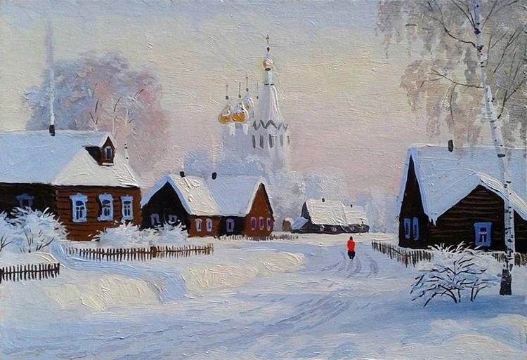 Для ответов, зимняя деревня картинки нарисованные