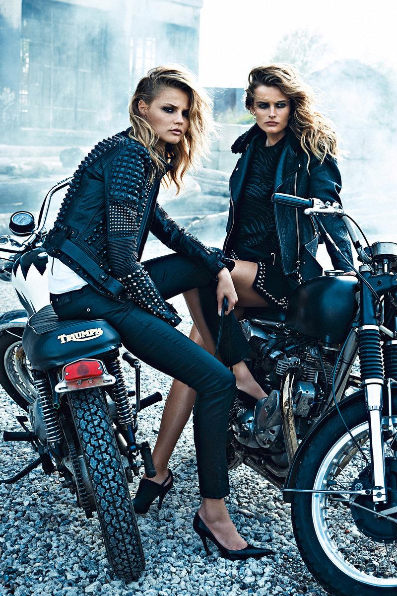 женская фотосессия на мотоциклах фото