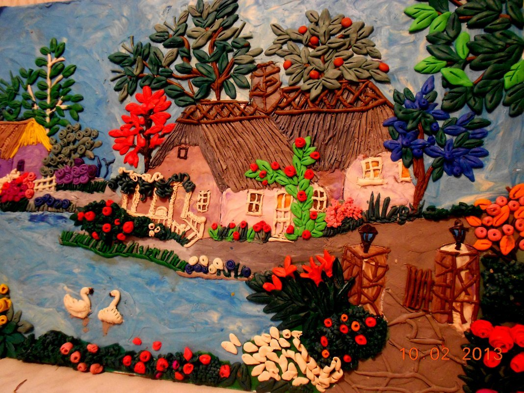 картинки деревни из пластилина