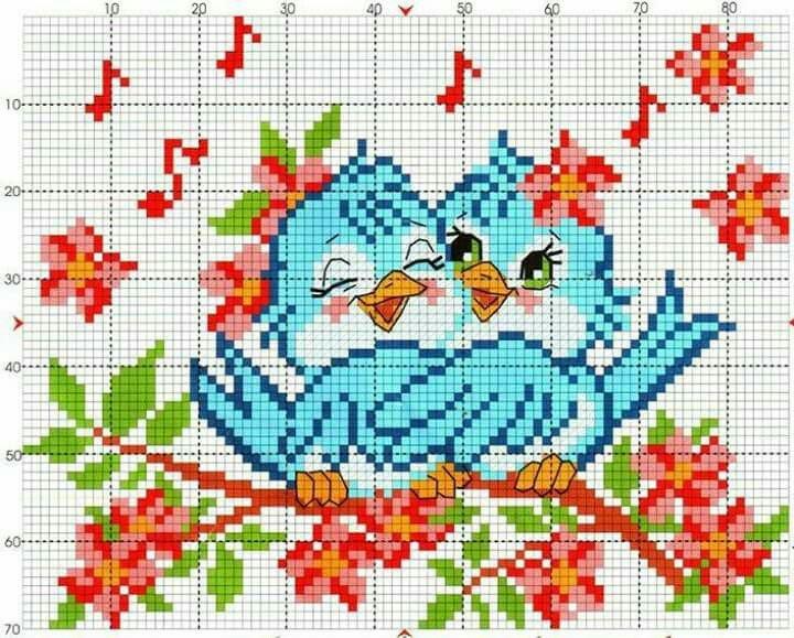 Схема вышивки влюбленные птички на ветке.