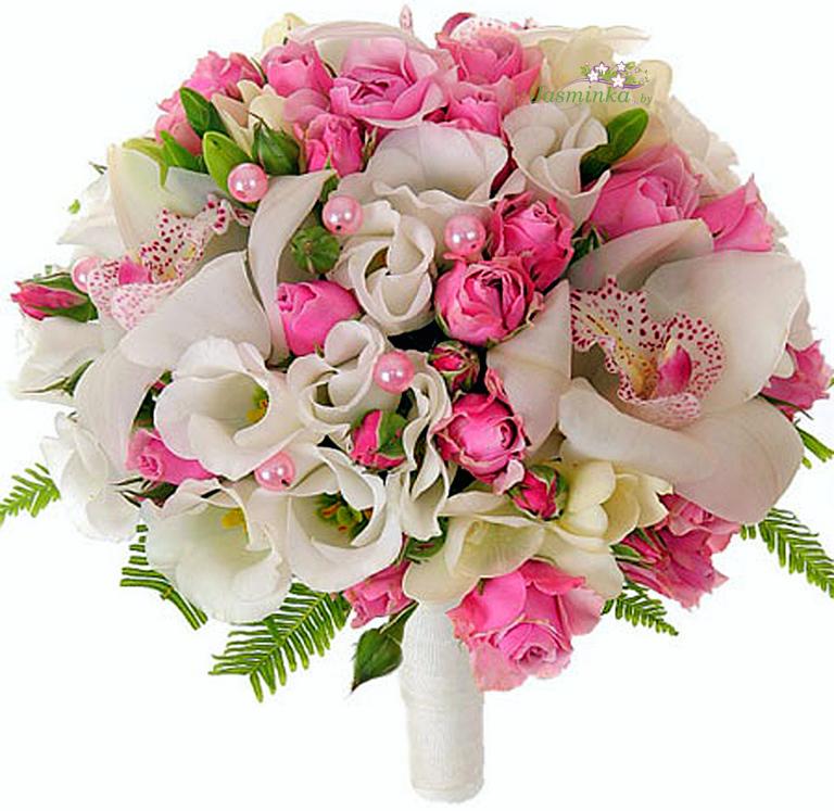 Красивые свадебные букеты из орхидеи, розы, эустомы и фрезии