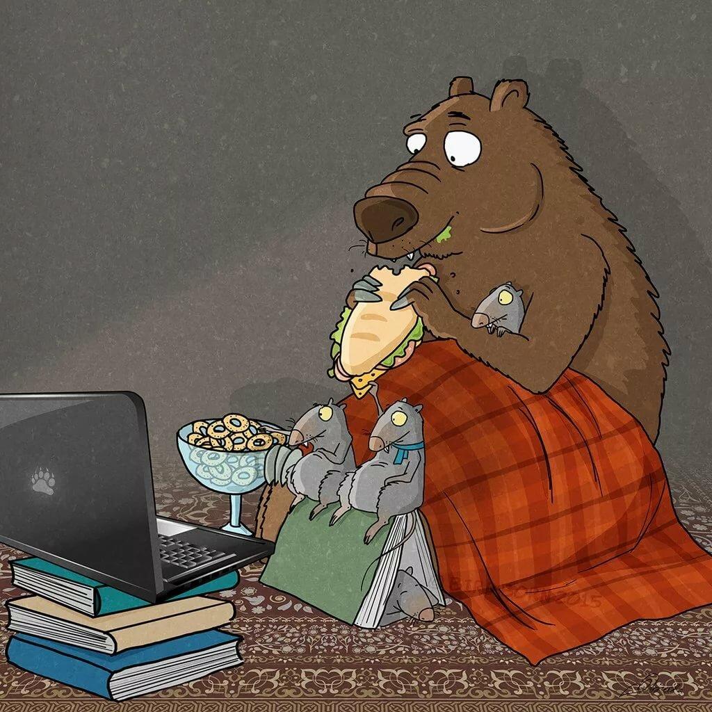Рисунки прикольные медведей