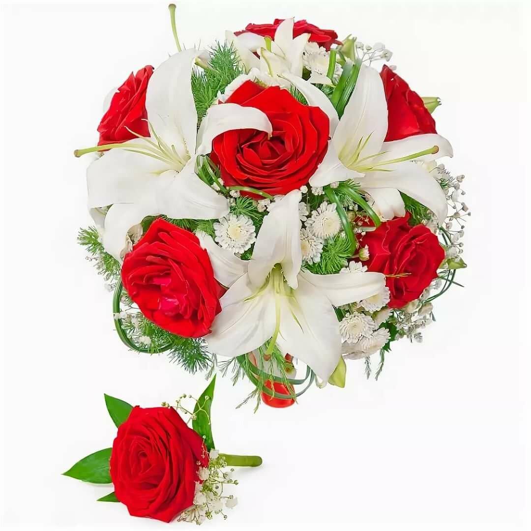 Стоимость букет из белых лилий и красных роз