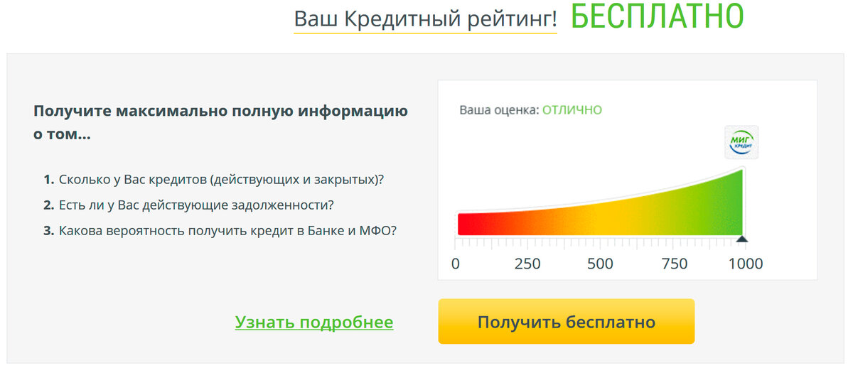 кредитный рейтинг отзывы