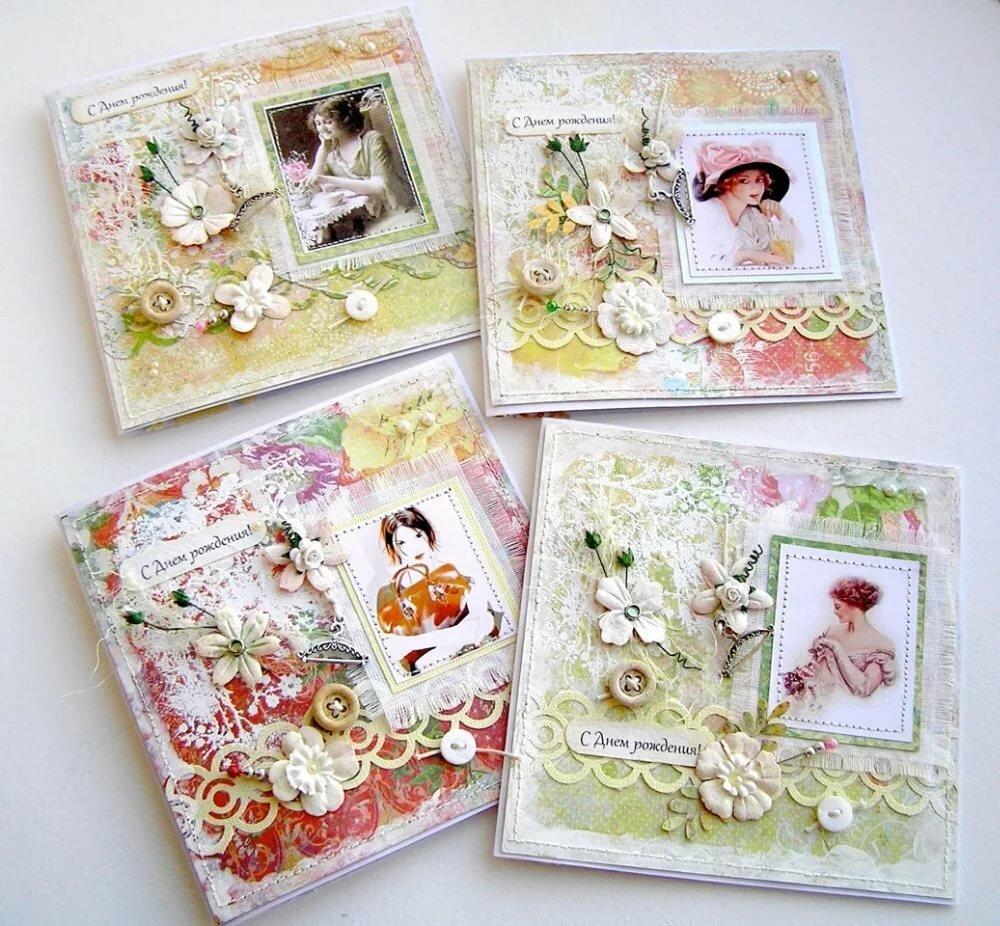 Открытки, открытки в стиле скрапбукинг на день рождения подруги